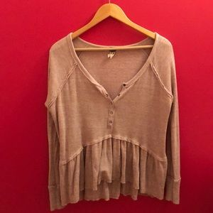 Free People thermal top.dusty rose and beige